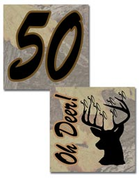 Free printable deer hunting  tree camo 50th birthday stickers or cup cake toppers
