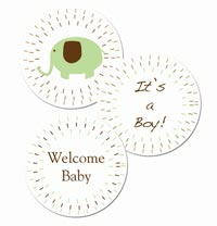 Free printable elephant baby shower stickers or cupcake toppers It's a boy! sage and brown