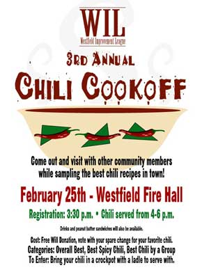 Westfield Improvement League Chili cookoff flier