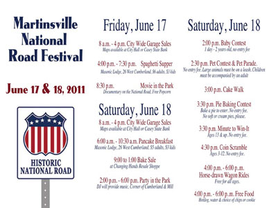 national road festival trifold brochure martinsville, il