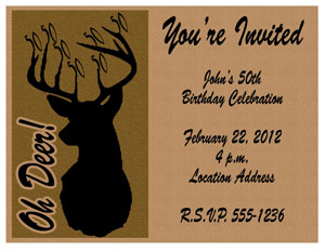 50th Birthday Invitation Oh Deer Milestone Hunting