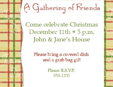 christmas party red yellow green plaid invitation