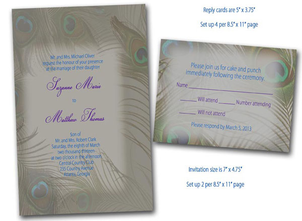 peacock feather wedding invitation reply card