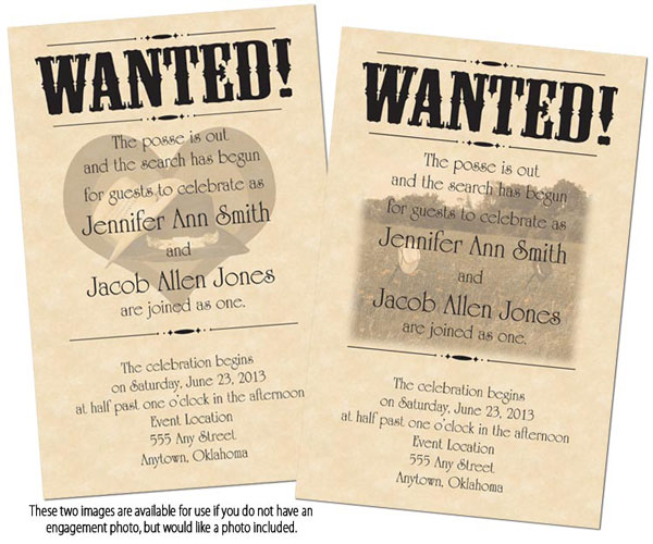 wanted poster wedding invitaitons