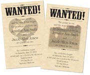 wanted poster wedding invitations