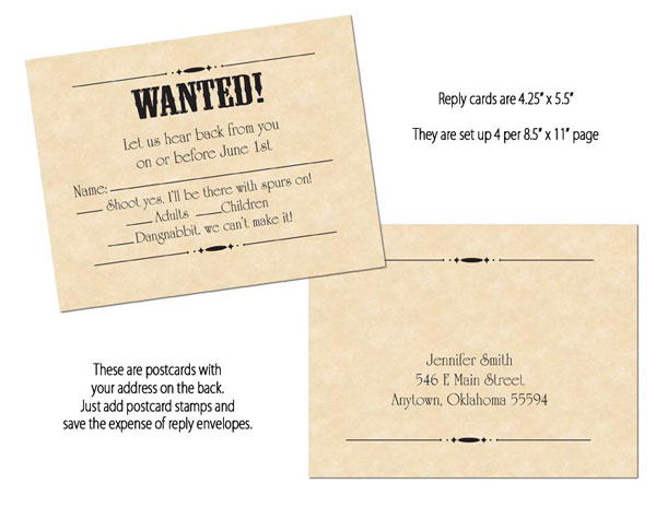 wanted poster reply cards