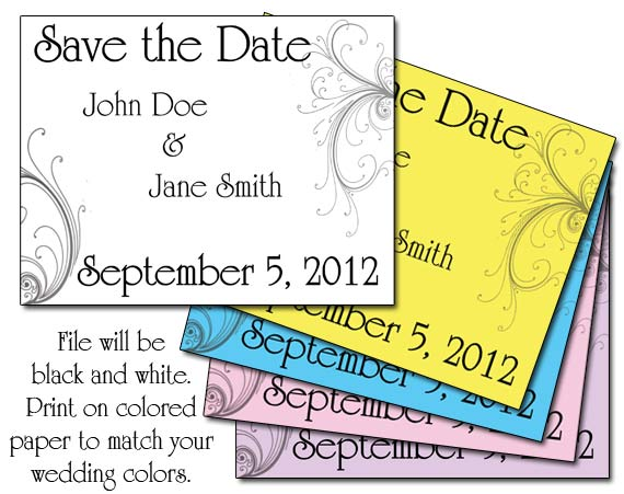 elegant swirls save the date