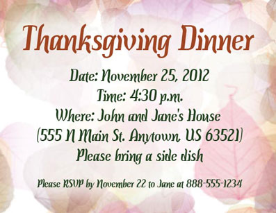 Thanksgiving fall leaves invitaitons