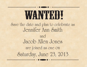 wanted poster save the date
